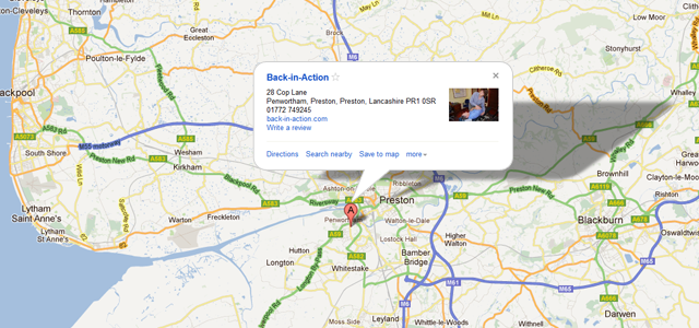 map showing back in action chiropractic clinic in Preston, Lancashire